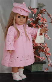 KnittingDollPattern - 0066D FANNY - DRESS, PANT, HAT, SOCKS, HANDBAG