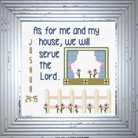 House / Serve Lord - Joshua 24:15 Chart | Crafting | Cross-Stitch | Religious