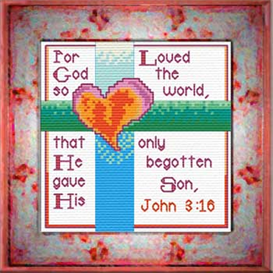 God So Loved  2  - John 3:16 | Crafting | Cross-Stitch | Other