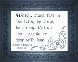 Stand Fast - I Corinthians 16:13-14 | Crafting | Cross-Stitch | Religious