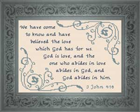 God is Love - John 4:16 | Crafting | Cross-Stitch | Religious