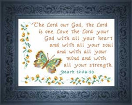 Love The Lord Your God - Mark 12:29-30 | Crafting | Cross-Stitch | Religious