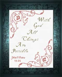 With God Matthew 19:26 | Crafting | Cross-Stitch | Religious