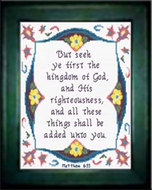 Seek Ye First - Matthew 6:23 - Chart | Crafting | Cross-Stitch | Religious