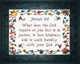 Justice Kindness Humility - Micah 6:8 | Crafting | Cross-Stitch | Religious