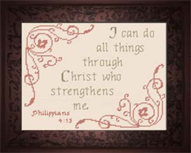 Christ Strengthens Me - Philippians 4:13 | Crafting | Cross-Stitch | Religious