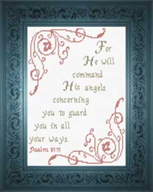 His Angels Guard Psalm 91:11 | Crafting | Cross-Stitch | Religious