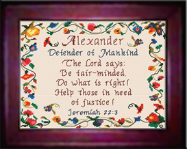 Name Blessings - Alexander- Chart | Crafting | Cross-Stitch | Religious