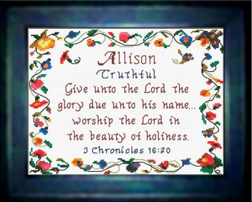 First Additional product image for - Name Blessings - Allison - Chart