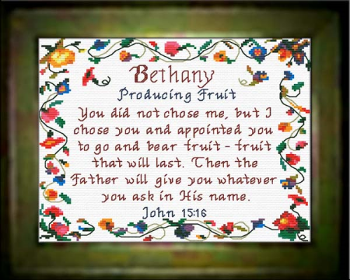 First Additional product image for - Name Blessings - Bethany - Chart