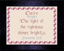 Name Blessings - Claire | Crafting | Cross-Stitch | Religious