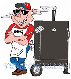 Pig Chef leaning on BBQ Smoker