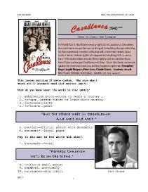CASABLANCA, Whole-Movie English (ESL) Lesson | eBooks | Education