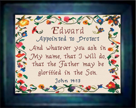 Name Blessings - Edward - Chart | Crafting | Cross-Stitch | Religious