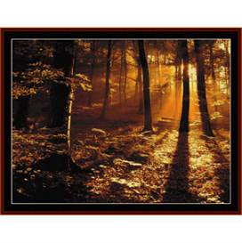 autumn forest in the sun - nature cross stitch pattern by cross stitch collectibles