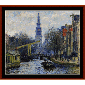 Canal in Amsterdam - Monet cross stitch pattern by Cross Stitch Collectibles | Crafting | Cross-Stitch | Wall Hangings