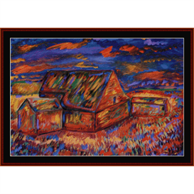 mystic barn -scharf cross stitch pattern by cross stitch collectibles