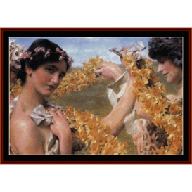 when flowers return - alma tadema cross stitch pattern by cross stitch collectibles