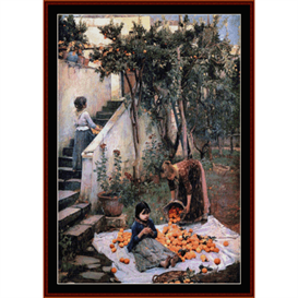 Orange Gatherers - Waterhouse cross stitch pattern by Cross Stitch Collectibles | Crafting | Cross-Stitch | Wall Hangings