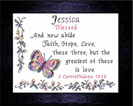 Name Blessing -Jessica 3 | Crafting | Cross-Stitch | Religious