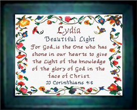 Name Blessings - Lydia - Chart | Crafting | Cross-Stitch | Religious