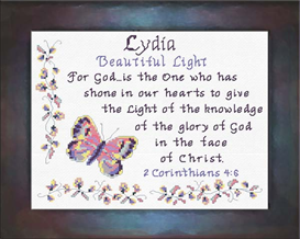 Name Blessings - Lydia 2 | Crafting | Cross-Stitch | Religious