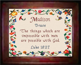 Name Blessings - Madison - Chart | Crafting | Cross-Stitch | Other