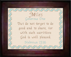 Name Blessings - Miles | Crafting | Cross-Stitch | Religious