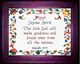 Name Blessings - Piper - Chart | Crafting | Cross-Stitch | Religious