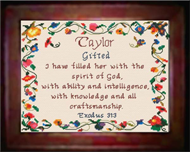 Name Blessings - Taylor - Chart | Crafting | Cross-Stitch | Religious