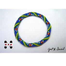 Red Daisies Bead Crochet Bracelet | eBooks | Arts and Crafts