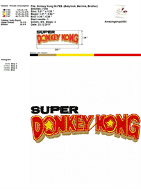 Donkey Kong - Embroidery Design | Crafting | Sewing | Other