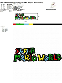 Super Mario World - Embroidery Design | Crafting | Sewing | Other