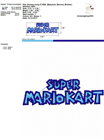 Super Mario Kart - Embroidery Design   Crafting   Sewing   Other