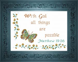 With God All Things - Matthew 19:26 | Crafting | Cross-Stitch | Other