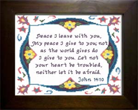 Peace - John 14:10 | Crafting | Cross-Stitch | Religious