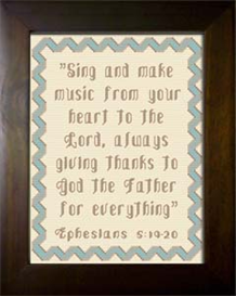 Sing and Make Music - Ephesians 5:19-20 | Crafting | Cross-Stitch | Religious
