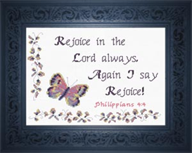 Rejoice - Philippians 4:4 | Crafting | Cross-Stitch | Religious