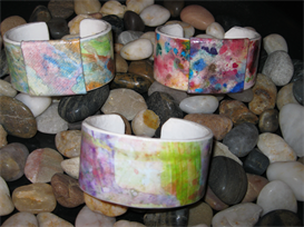 tutorial only - watercolored paper bracelet