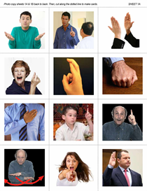 esl group activity: reading body language 1 - hand gestures