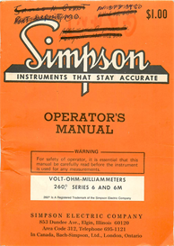 simpson volt-ohm-milliammeters meter 260 series 6 and 6m