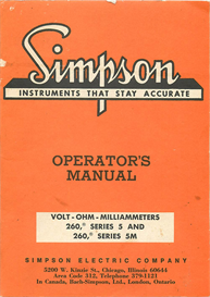 Simpson VOLT-OHM-MILLIAMMETERS Meter 260 Series 5 and 5M | Documents and Forms | Manuals