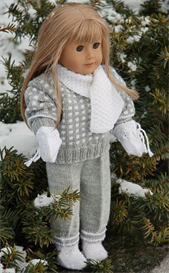 DollKnittingPattern - 0068D DENISE - SWEATER, PANT, HAT, GLOVES, SCARF AND SOCKS