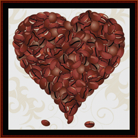 coffee valentine - fractal cross stitch pattern by cross stitch collectibles