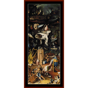 garden of earthly delights (left) - bosch cross stitch pattern by cross stitch collectibles