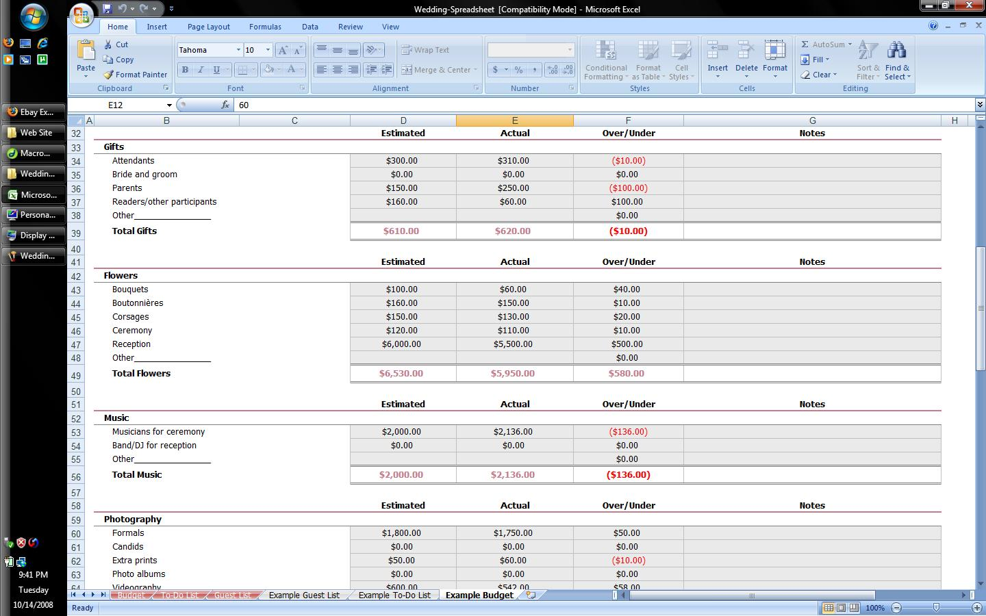 First Additional Product Image For Wedding Planner Excel Spreadsheet