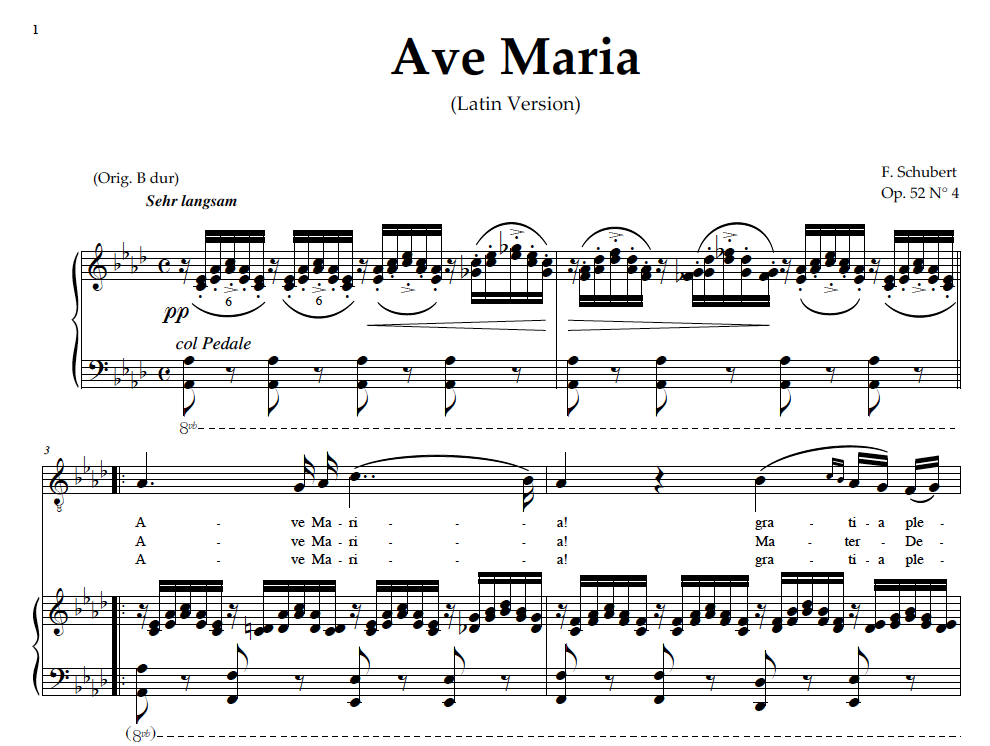 Piano ave maria sheet music piano : Ave Maria, Medium Voice (Baritone) in A Flat Major, Schubert ...