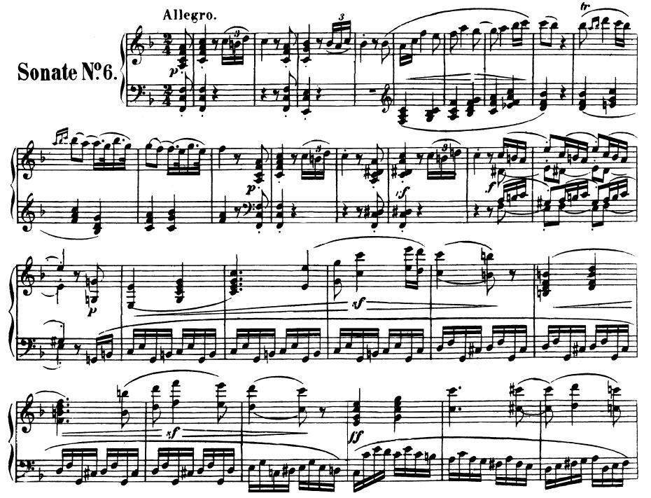 All Music Chords beethoven sheet music : Piano Sonata No.6, Op.10 No.2 in F Major. L.V. Beethoven. Ed ...