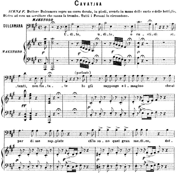 All Music Chords bass sheet music : Udite, udite, o rustici Cavatina for Bass (Dulcamara). G ...