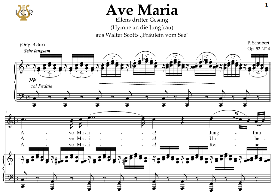 Piano ave maria sheet music piano : Ave Maria, D. 839 in C Major (High Soprano/Tenor). In German. F ...